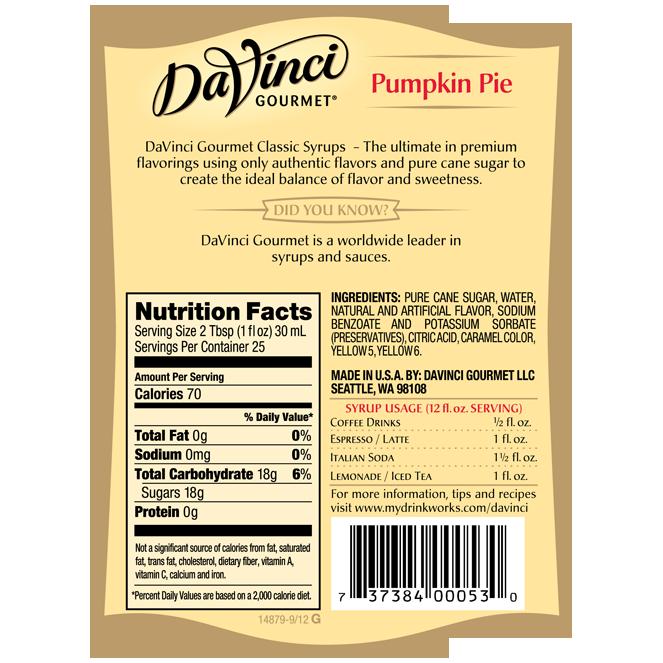 Davinci Classic Pumpkin Pie Spice Syrup 750ml Mission